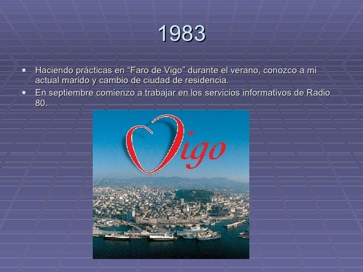 """1983 <ul><li>Haciendo prácticas en """"Faro de Vigo"""" durante el verano, conozco a mi actual marido y cambio de ciudad de resi..."""