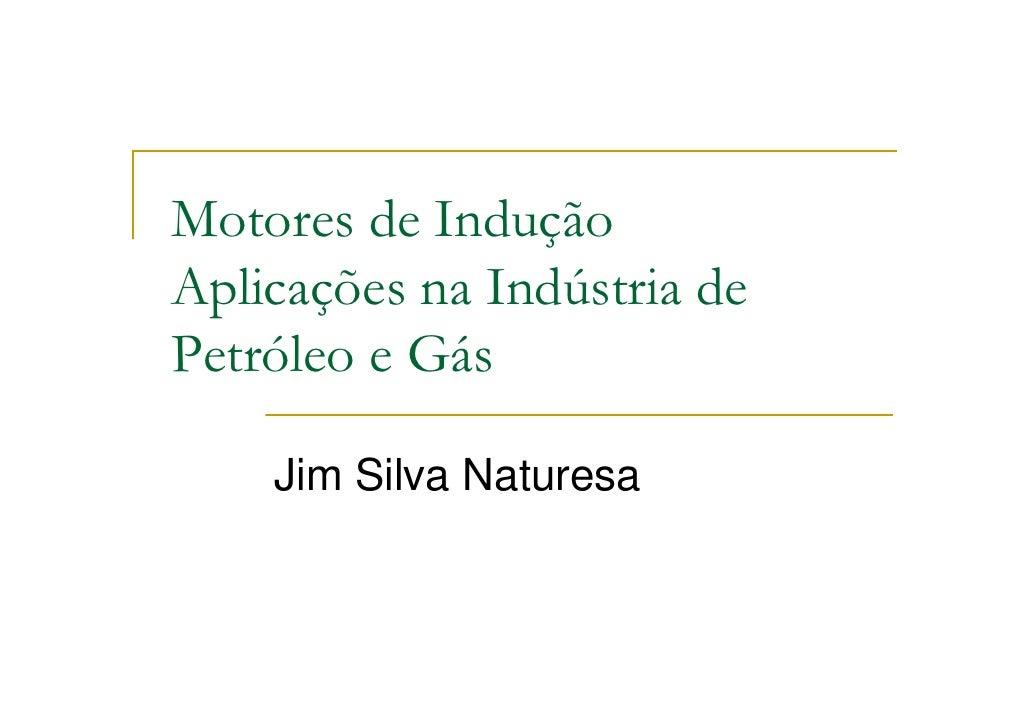Motores de Indução Aplicações na Indústria de Petróleo e Gás      Jim Silva Naturesa
