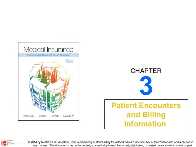 CHAPTER  3  Patient Encounters and Billing Information © 2014 by McGraw-Hill Education. This is proprietary material solel...