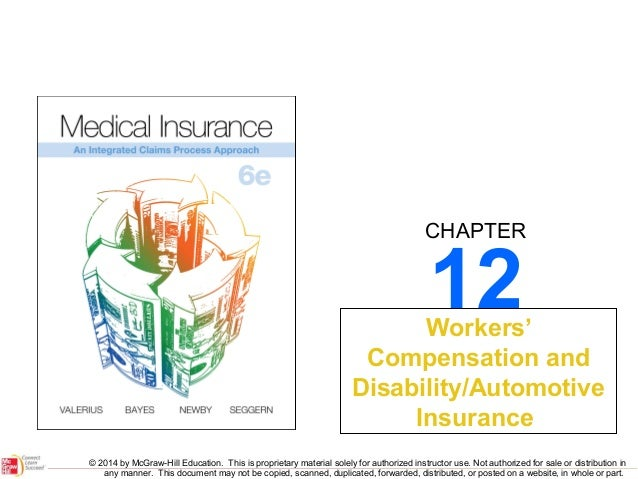 CHAPTER  12  Workers' Compensation and Disability/Automotive Insurance © 2014 by McGraw-Hill Education. This is proprietar...