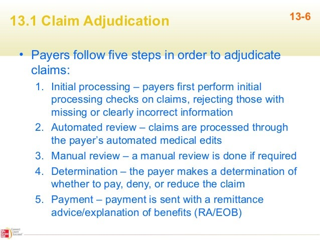 the five steps in the claim adjudication process essay The health insurance claims adjudication process involves six steps the medical  billing and  the six steps of health claims adjudication.