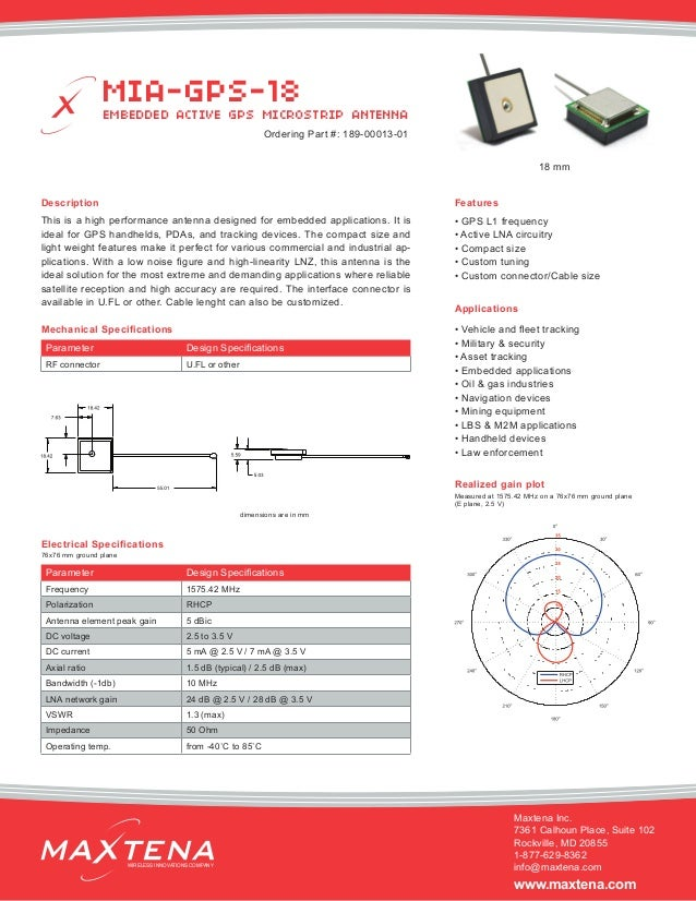 Description This is a high performance antenna designed for embedded applications. It is ideal for GPS handhelds, PDAs, an...