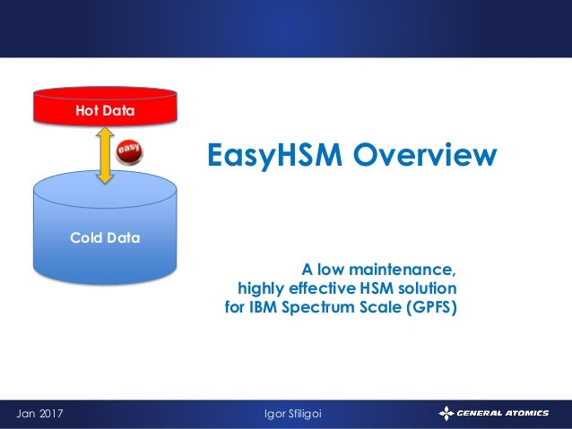 1 A low maintenance, highly effective HSM solution for IBM Spectrum Scale (GPFS) EasyHSM Overview Jan 2017 Igor Sfiligoi H...