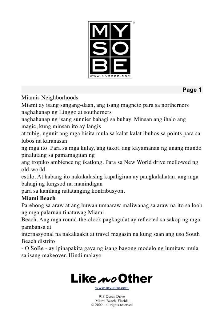 Page 1 Miamis Neighborhoods Miami ay isang sangang-daan, ang isang magneto para sa northerners naghahanap ng Linggo at sou...