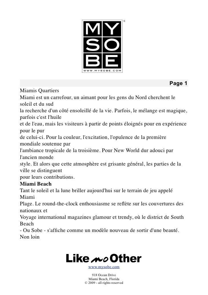 Page 1 Miamis Quartiers Miami est un carrefour, un aimant pour les gens du Nord cherchent le soleil et du sud la recherche...