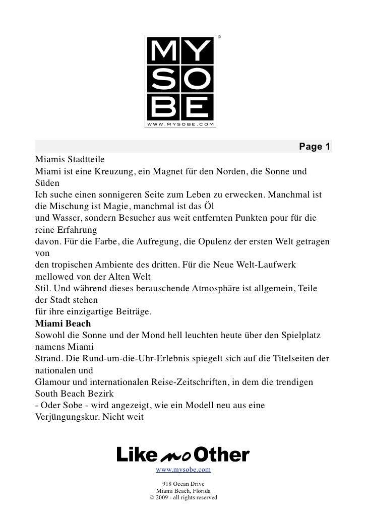 Page 1 Miamis Stadtteile Miami ist eine Kreuzung, ein Magnet für den Norden, die Sonne und Süden Ich suche einen sonnigere...