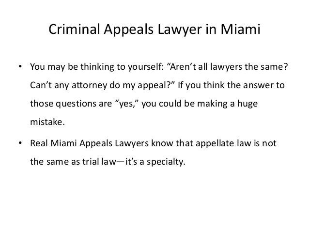 """Criminal Appeals Lawyer in Miami • You may be thinking to yourself: """"Aren't all lawyers the same? Can't any attorney do my..."""