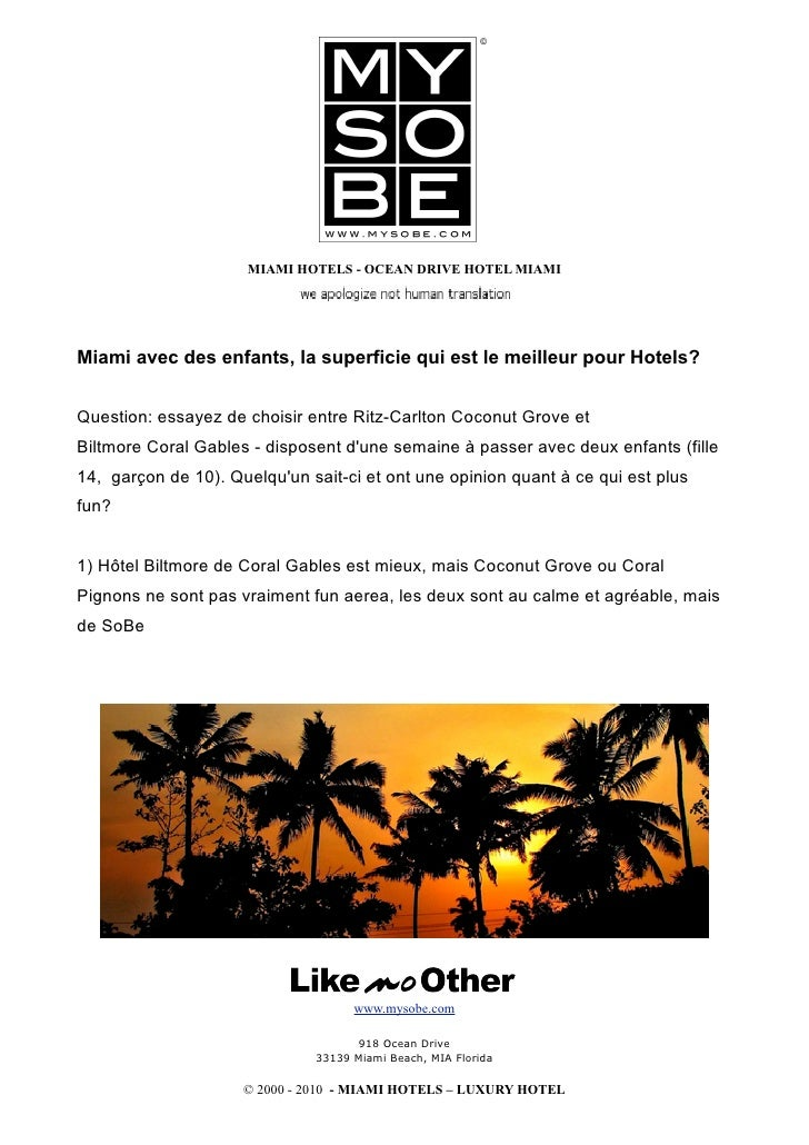 MIAMI HOTELS - OCEAN DRIVE HOTEL MIAMI     Miami avec des enfants, la superficie qui est le meilleur pour Hotels?   Questi...