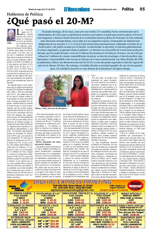 El Venezolano, Miami Florida, de Mayo 24 al 31 de 2018