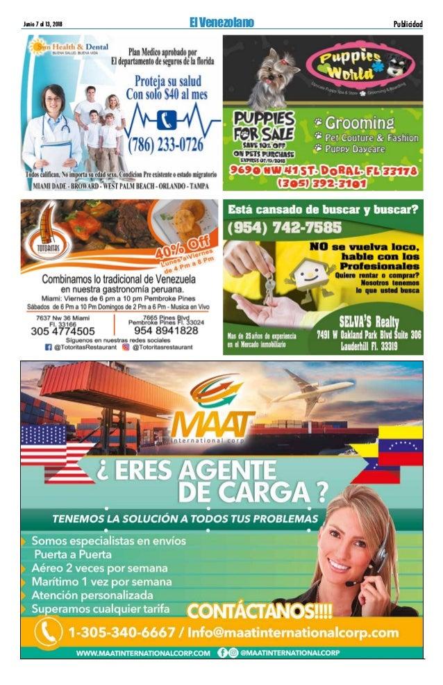 EL VENEZOLANO, Miami Florida, de junio 6 al 13 de 2018