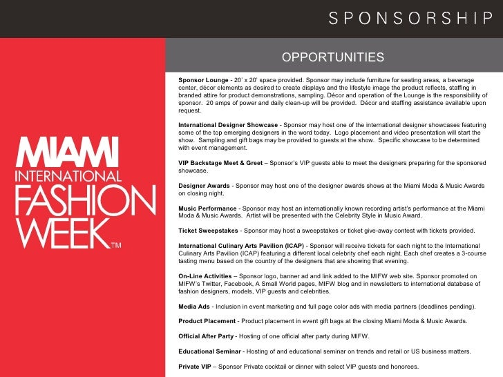 Fashion Show Sponsorship Packages