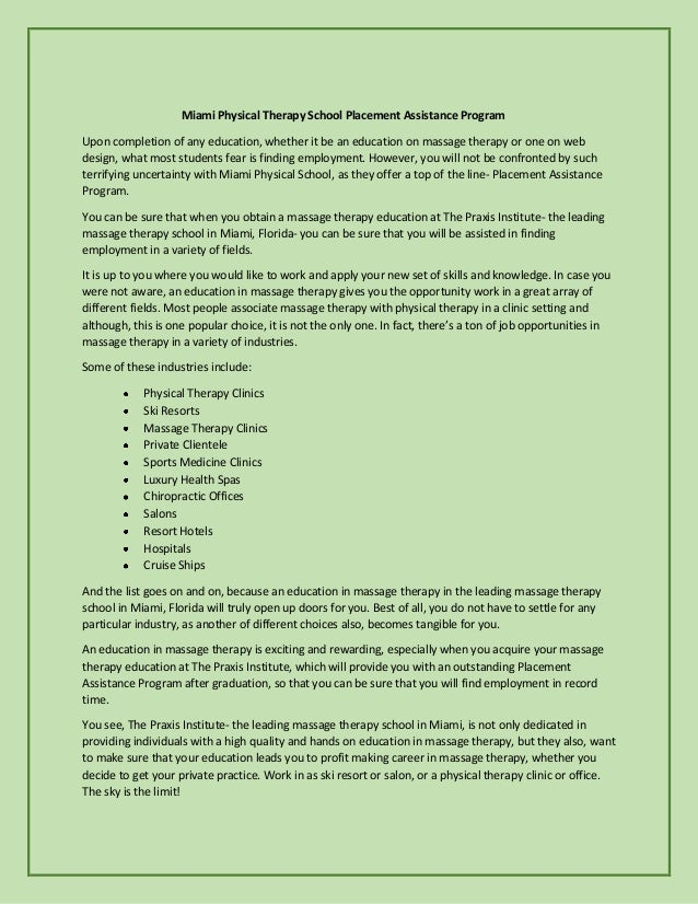 Miami Physical Therapy School Placement Assistance Program