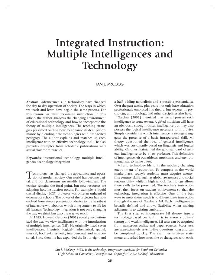 Integrated Instruction:                Multiple Intelligences and                       Technology                        ...