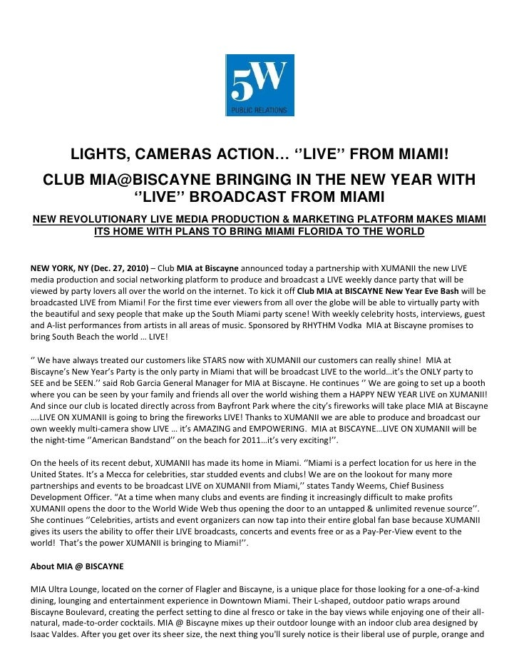LIGHTS, CAMERAS ACTION… ''LIVE'' FROM MIAMI!<br />CLUB MIA@BISCAYNE BRINGING IN THE NEW YEAR WITH ''LIVE'' BROADCAST FROM ...