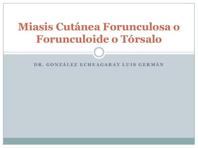 Miasis Cutánea Forunculosa o   Forunculoide o Tórsalo  DR. GONZÁLEZ ECHEAGARAY LUIS GERMÁN
