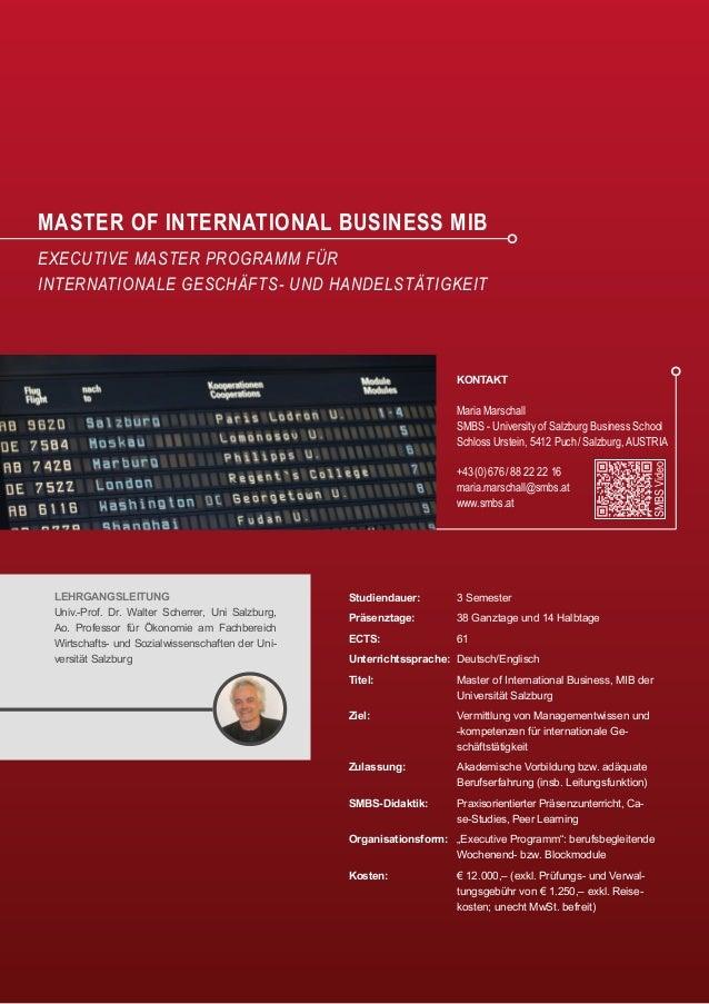 Executive Master of International Business – SMBS University of Salzburg Business School