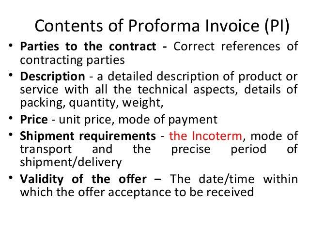 pi proforma invoice