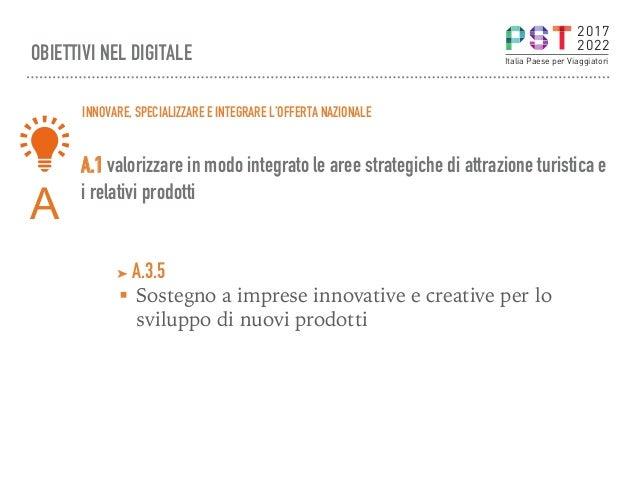 A.1 valorizzare in modo integrato le aree strategiche di attrazione turistica e i relativi prodotti OBIETTIVI NEL DIGITALE...