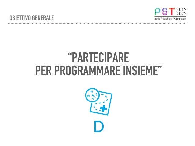 """""""PARTECIPARE PER PROGRAMMARE INSIEME"""" D 2017 2022 Italia Paese per ViaggiatoriOBIETTIVO GENERALE"""