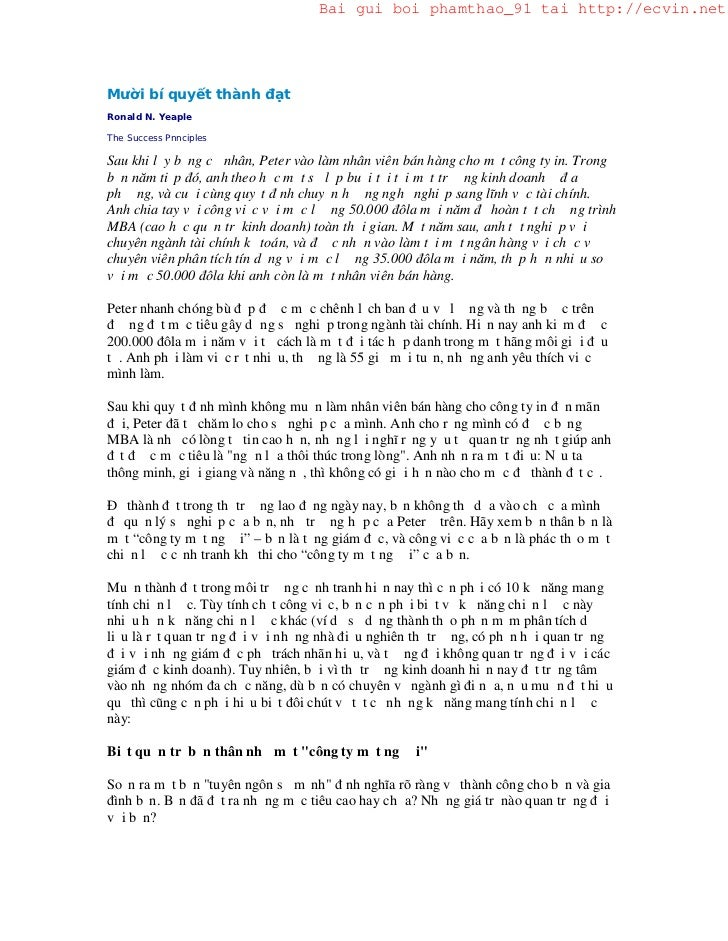 Bai gui boi phamthao_91 tai http://ecvin.netMười bí quyết thành đạtRonald N. YeapleThe Success PnnciplesSau khi lấy bằng c...
