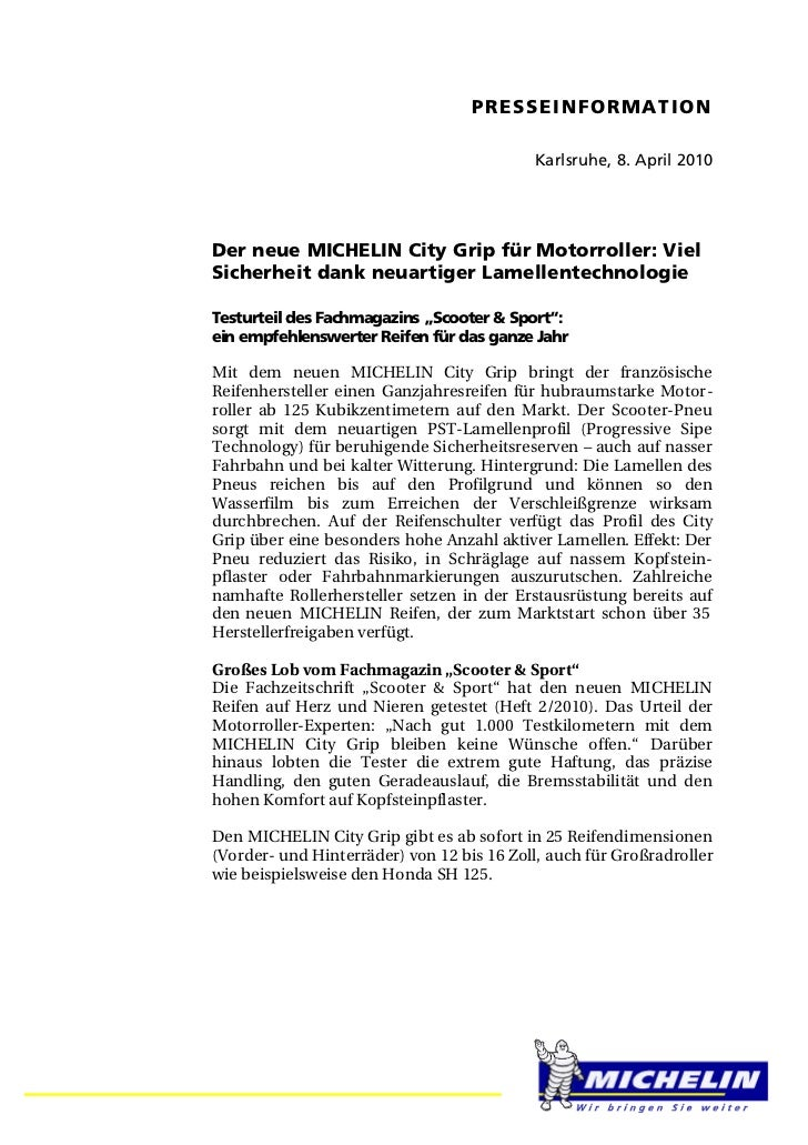 PRESSEINFORMATION                                           Karlsruhe, 8. April 2010Der neue MICHELIN City Grip für Motorr...