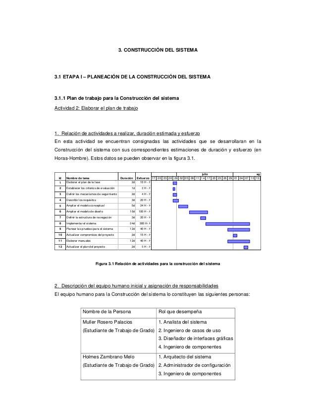 3. CONSTRUCCIÓN DEL SISTEMA3.1 ETAPA I – PLANEACIÓN DE LA CONSTRUCCIÓN DEL SISTEMA3.1.1 Plan de trabajo para la Construcci...
