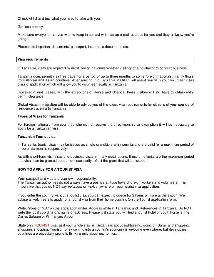 Micatz tanzania pre departure information booklet 2011