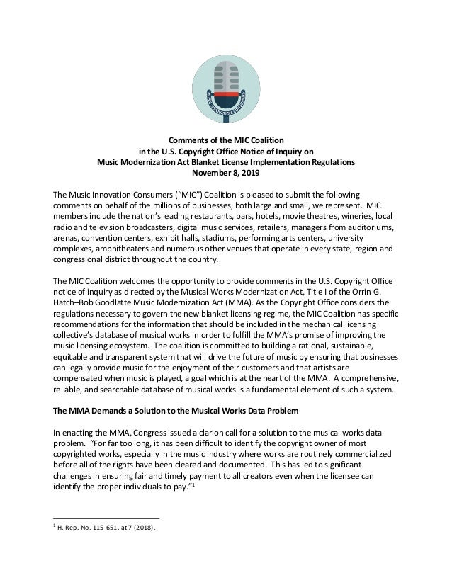 Comments of the MIC Coalition in the U.S. Copyright Office Notice of Inquiry on Music Modernization Act Blanket License Im...