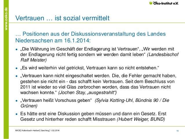 16 www.oeko.de Vertrauen … ist sozial vermittelt … Positionen aus der Diskussionsveranstaltung des Landes Niedersachsen am...