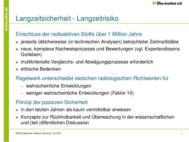 7 www.oeko.de Langzeitsicherheit - Langzeitrisiko Einschluss der radioaktiven Stoffe über 1 Million Jahre ● jenseits üblic...