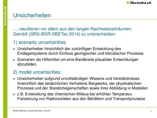 8 www.oeko.de Unsicherheiten … resultieren vor allem aus den langen Nachweiszeiträumen. Gemäß (GRS-BGR-DBETec 2014) zu unt...