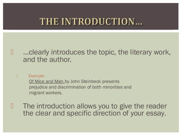 mice and men discrimination essay Extracts from this document introduction of mice and men essay: the issue of racism racism features strongly in the novel of mice and men by john steinbeck.