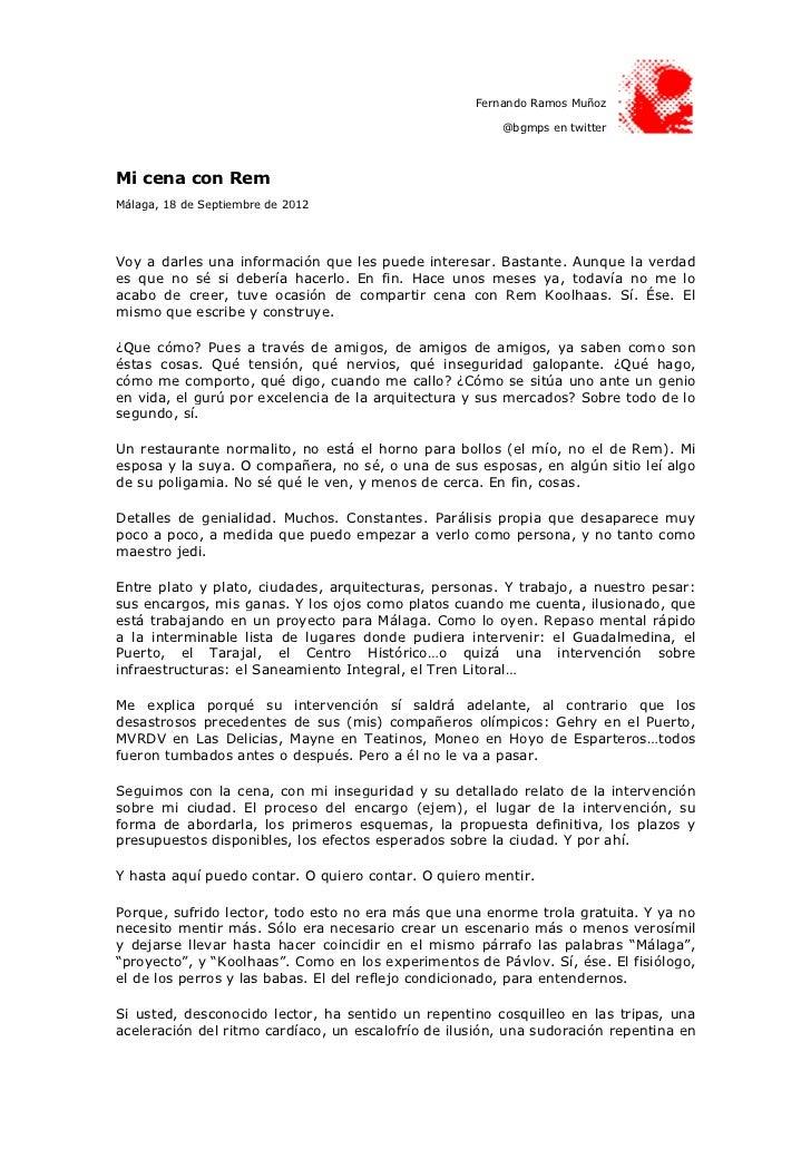 Fernando Ramos Muñoz                                                        @bgmps en twitterMi cena con RemMálaga, 18 de ...