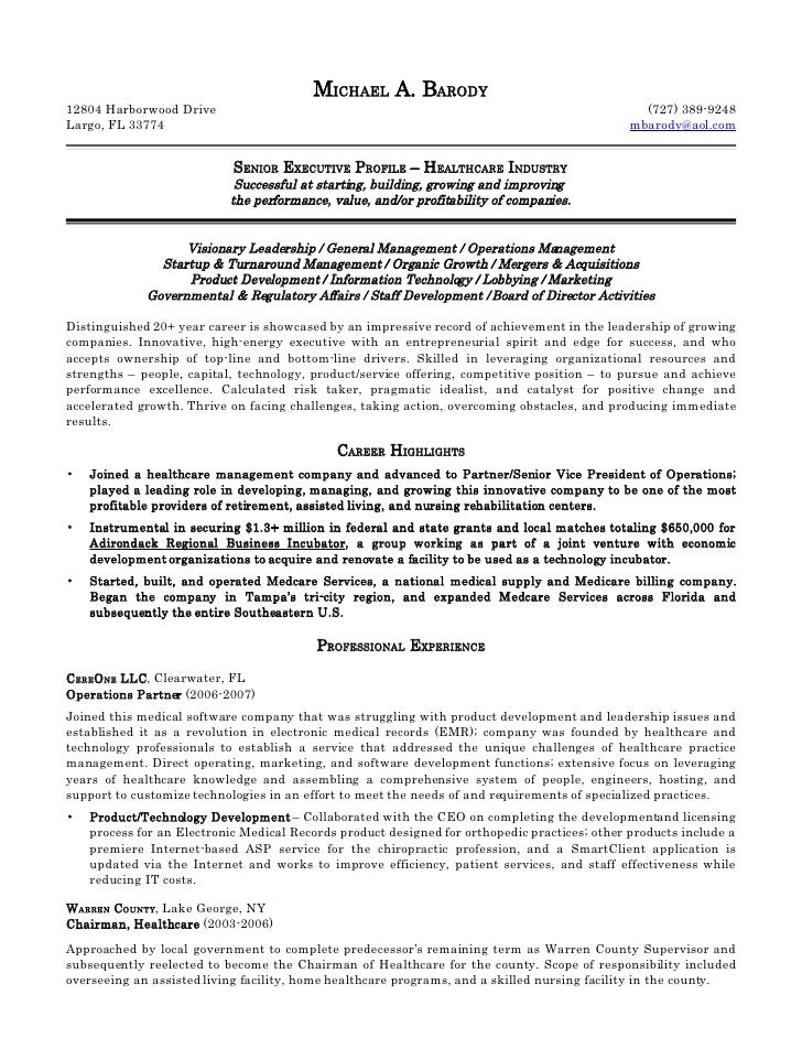 michael barody resume - Home Health Care Resume