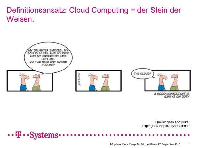 T-Systems Cloud Camp, Dr. Michael Pauly, 17. September 2010 3 Definitionsansatz: Cloud Computing = der Stein der Weisen. 3...