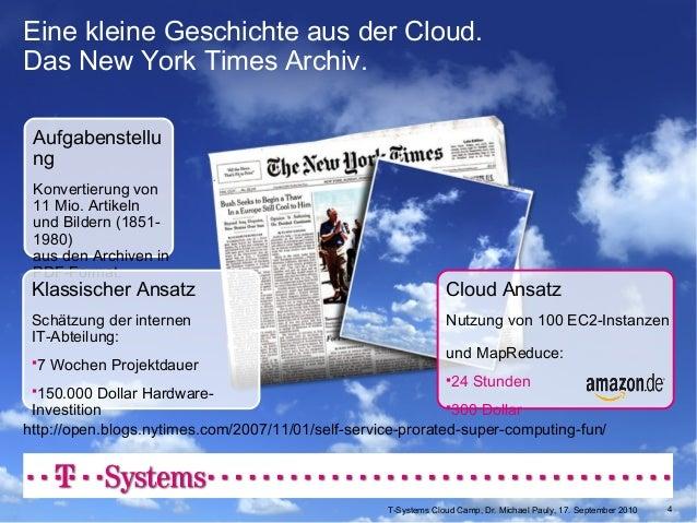 T-Systems Cloud Story, v 5.14 29. Juli 2010 Eine kleine Geschichte aus der Cloud. Das New York Times Archiv. Aufgabenstell...