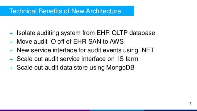 + Isolate auditing system from EHR OLTP database + Move audit IO off of EHR SAN to AWS + New service interface for audit e...