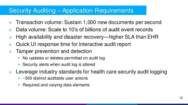 + Transaction volume: Sustain 1,000 new documents per second + Data volume: Scale to 10's of billions of audit event recor...