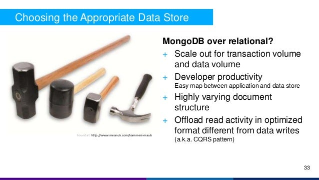 Choosing the Appropriate Data Store MongoDB over relational? + Scale out for transaction volume and data volume + Develope...