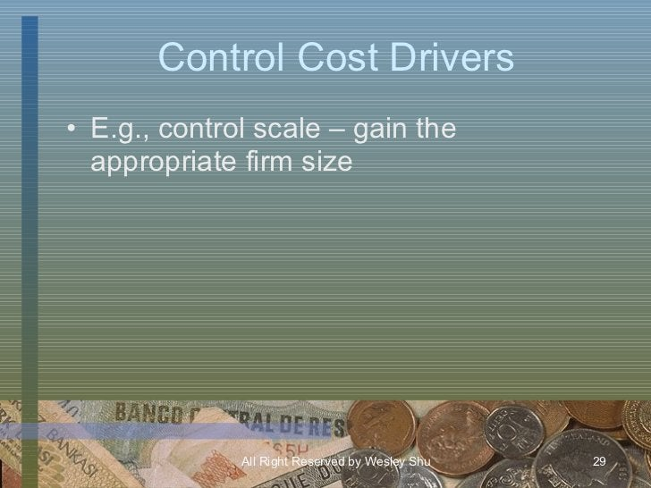 Control Cost Drivers <ul><li>E.g., control scale – gain the appropriate firm size </li></ul>