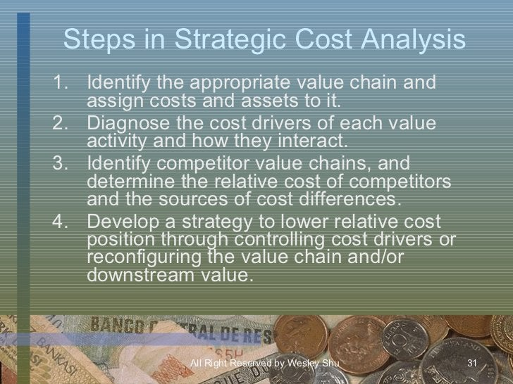 Steps in Strategic Cost Analysis <ul><li>Identify the appropriate value chain and assign costs and assets to it. </li></ul...