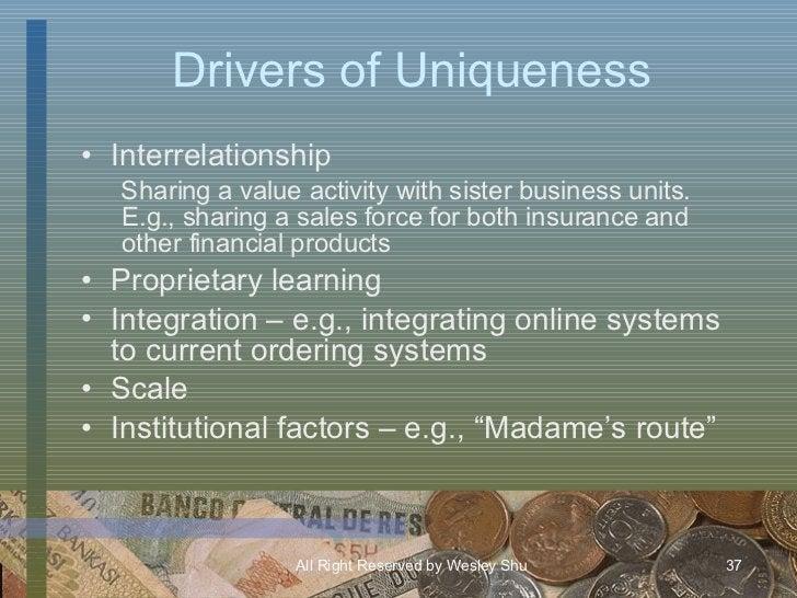 Drivers of Uniqueness <ul><li>Interrelationship </li></ul><ul><ul><li>Sharing a value activity with sister business units....