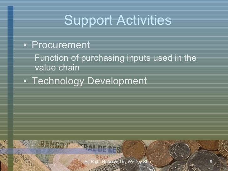 Support Activities <ul><li>Procurement </li></ul><ul><ul><li>Function of purchasing inputs used in the value chain </li></...