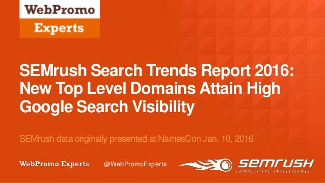 @twitterhandle August 10–12, 2015 | #CZLSF | @ClickZLive @radioms SEMrush Search Trends Report 2016: New Top Level Domains...