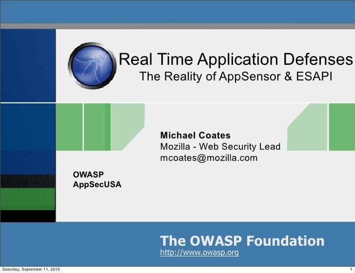 Real Time Application Defenses - The Reality of AppSensor & ESAPI