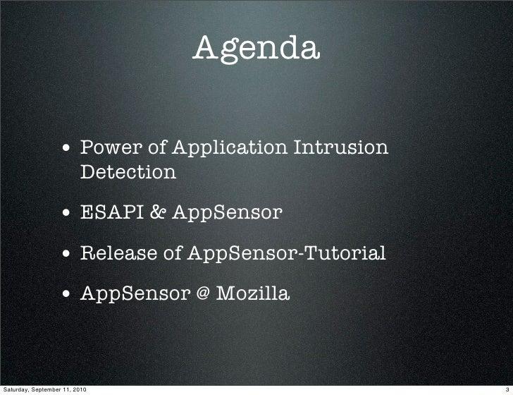 Real Time Application Defenses - The Reality of AppSensor & ESAPI Slide 3