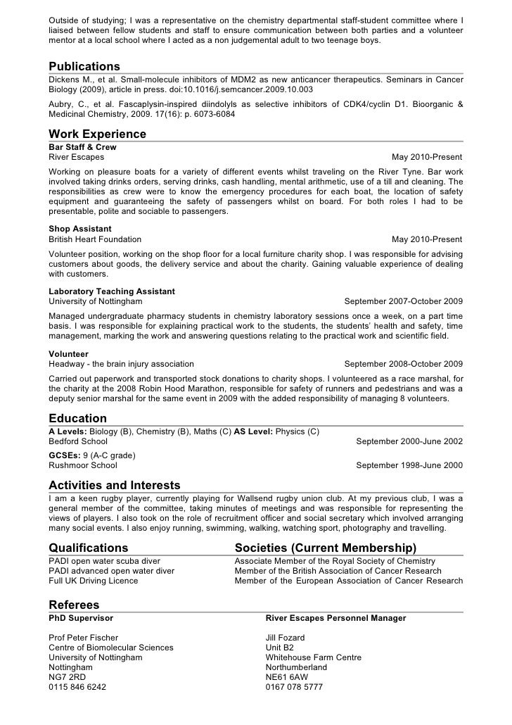 Phd chemistry resume