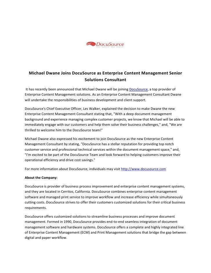 Michael dwane joins docu source as enterprise content