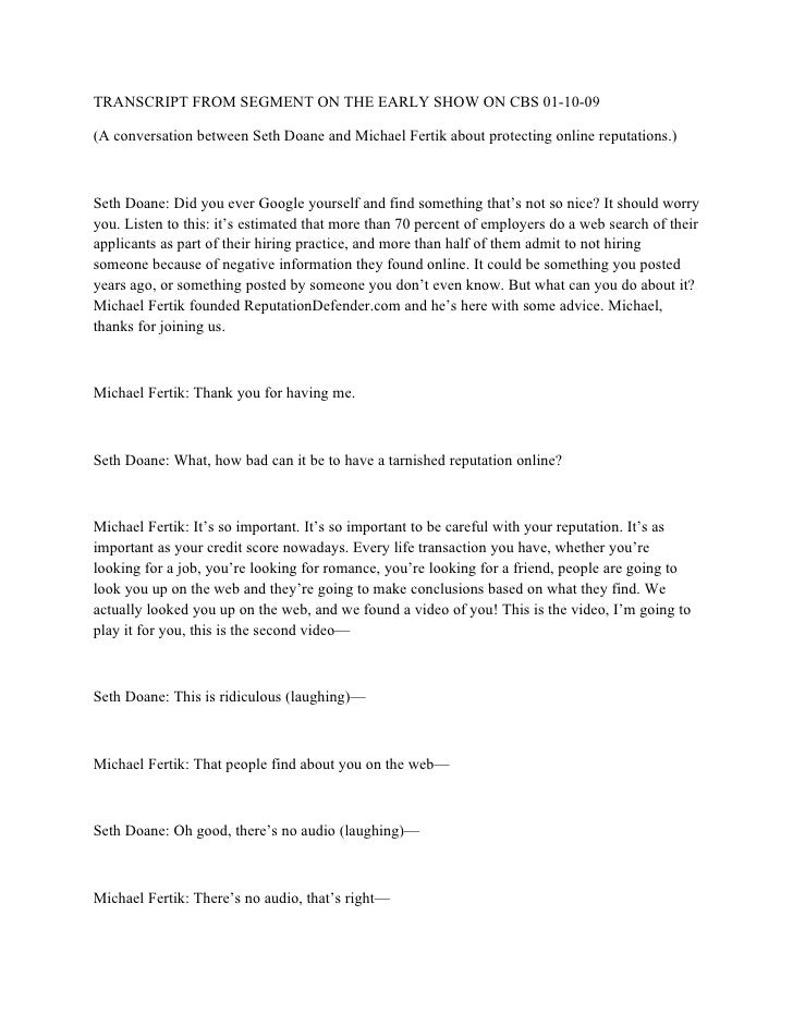 TRANSCRIPT FROM SEGMENT ON THE EARLY SHOW ON CBS 01-10-09  (A conversation between Seth Doane and Michael Fertik about pro...
