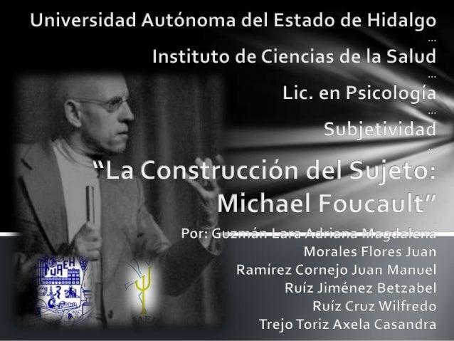 Trabajo de FoucaultOntología de nuestra actualidad.Estudio de los caracteres generales del ser actual através de eventos h...